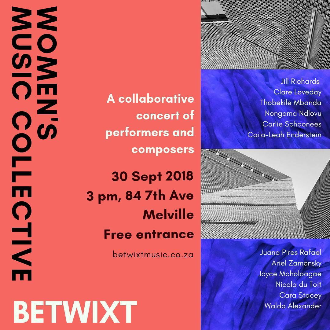 Poster for the Betwixt/Women's Music Collective concert in Johannesburg, September 2018.