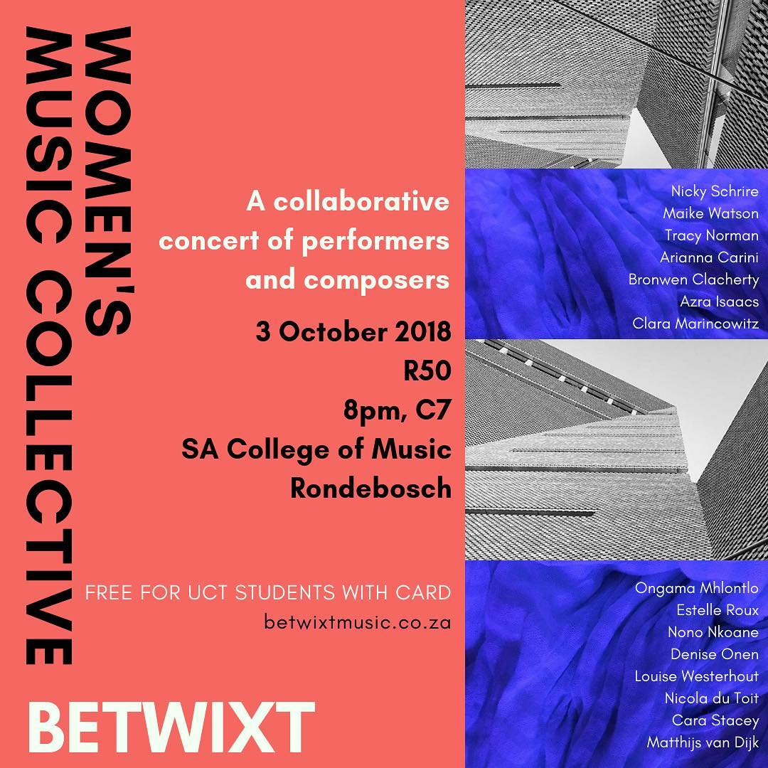 Poster for the Betwixt/Women's Music Collective concert in Cape Town, October 2018.